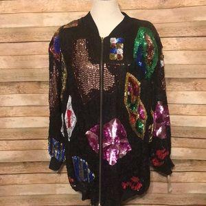 Sequin jacket 2x! Vintage!!